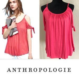 Anthropologie Bailey 44 coral cold shoulder top